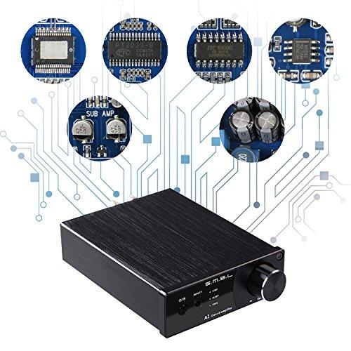 S.M.S.LA2ステレオスピーカーパワーアンプHI-FI音質TDA7492デジタルアンプIC搭載/40Wx2大出力/重低音信号出力クラスDオーディオ・アンプ(銀)