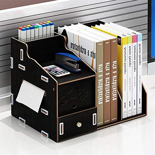 Archivador de escritorio multifunción organizador de escritorio para oficina, estante de exhibición de madera con soporte para pañuelos (color: negro, tamaño: talla única)