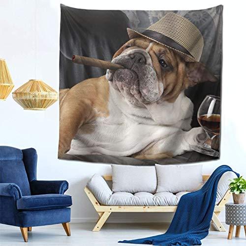 Bonito Tapiz de Bulldog marrón para Mascotas, Tapiz Espacial, tapices de Pared para Colgar en la Pared, para Dormitorio, Sala de Estar, decoración del Dormitorio, 59Wx59H Pulgadas