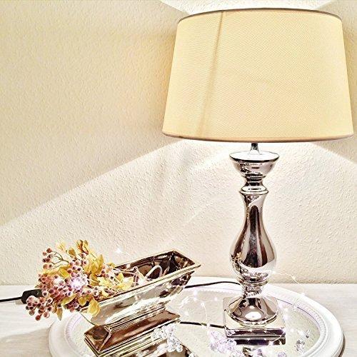 DRULINE Lovely Keramik Tischlampe Tischleuchte Nachttischlampe Lampe Leuchte Lampenfuß 38 cm Creme