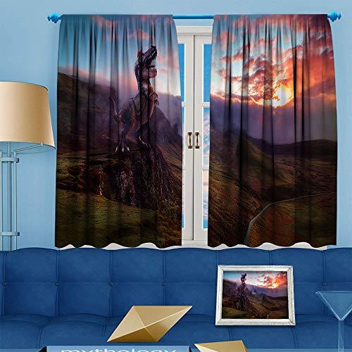 DILITECK Black Out Cortinas para dormitorio 3D Super Mario tela cortina de ventana impresión para cortinas de ventana, cenefas de 72 x 63 pulgadas, dinosaurio Super Mario Odyssey