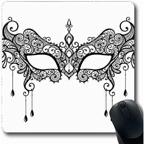 Mauspad Gesicht Venezianischen Schwarzer Spitze Maskerade Maske Kunst Sexy Geheimnisvolle Oper Theater Design Büro Rutschfeste Gaming-Mauspad Gummi Längliche Matte Mousepads Laptop 25X30Cm