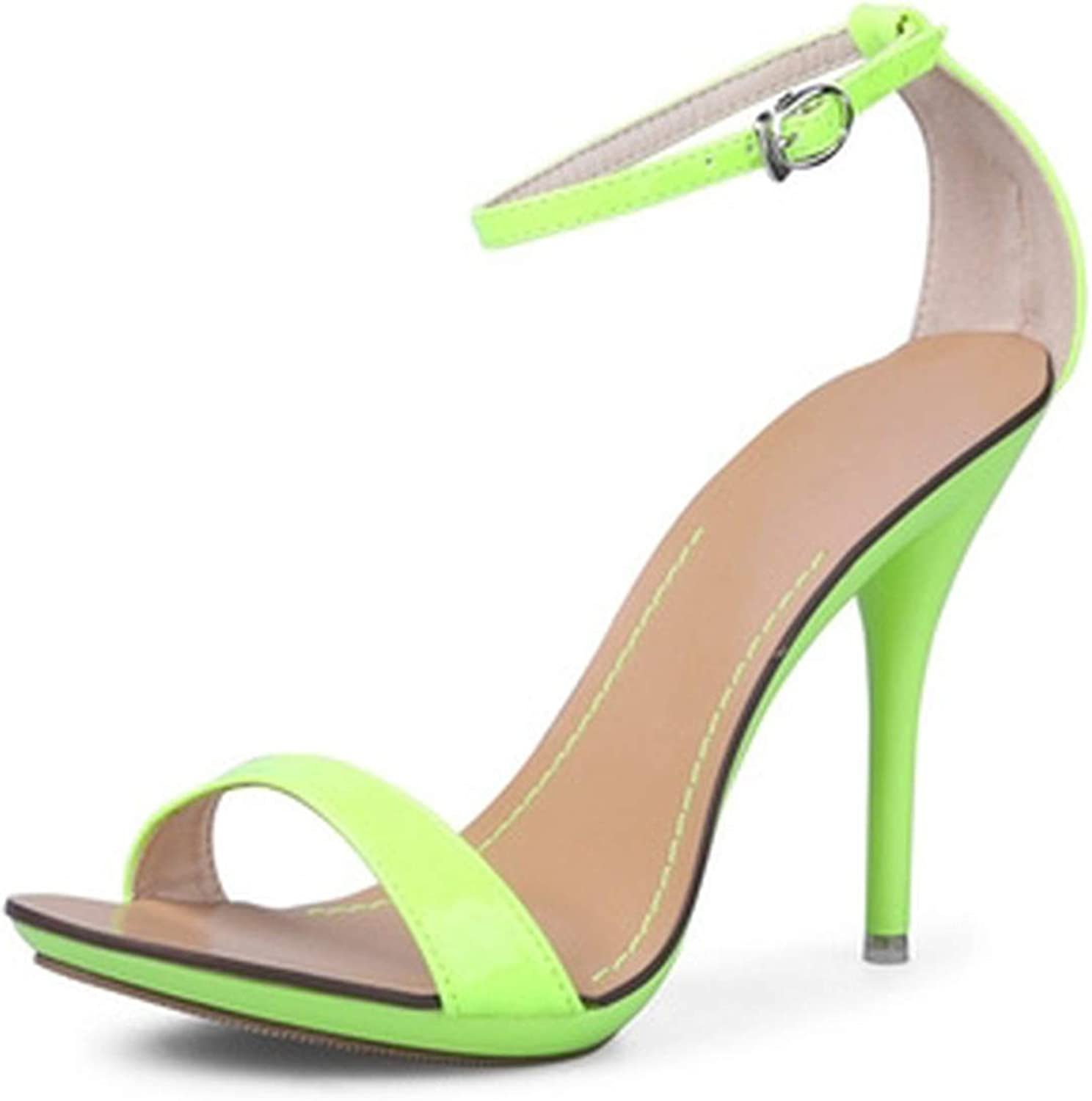 Shine-shine Candy colors Ankle Rap Sandals Gladiator High Heels for Party Wedding Small Big Size 4-11