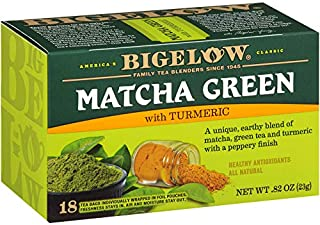 Bigelow Tea Matcha Green Tea with Turmeric 18Count (Pack of 6) Caffeinated Individual Green Tea Bags, for Hot Tea or Iced ...