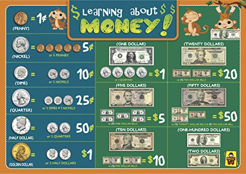 UNCLE WU Kids Toddler Learning About US Dollars Placemat/ Money Chart Wall Poster - 16 x 12 inch Waterproof