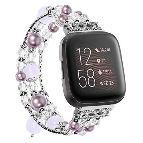 ALeis Handgefertigtes Armband aus Achat mit Perlen für Fitbit Versa/Fitbit Versa 2 (lila)