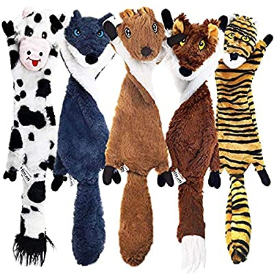 Squeaky Dog Toys 5 Pack, Stuffing Free For Safe No Mess Play, No Stuffing To Be Chewed Or Swallowed, Plush Toy Set, Cow, Wolf, Squirrel, Fox, Tiger