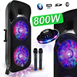 Enceinte Sono DJ PA Mobile Party Batterie Karaoké 2x15' 1000W USB/BT - FM RADIO + 2 Micros VHF MyDJ BOXER-215LED-MAGIC +OVNI