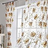 HOMEIEU Tinta Flor Impresión Offset Tul Translúcido Panel De Cortina Dormitorio Sala De Estar Balcón Impresión Offset Cortina Pantalla 2 Uds Panel (2xW100xH200cm)
