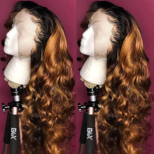 """Andrai Hair Dark Root Ombre Honey Brown Color Two Tone Lace Front Synthetic Wigs Loose Wave Heat Resistant Hair Pre Plucked Wig with Baby Hair Bleached Knots for Women 24"""""""