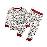 Storerine Noël Fille 2 Pièces Ensemble Bonhomme De Neige Imprimé Tee Shirt Manches Longues Pantalons Deguisement Pull Noel Bébé Fille Tenue Pyjama Costume Enfant 2-7 Ans