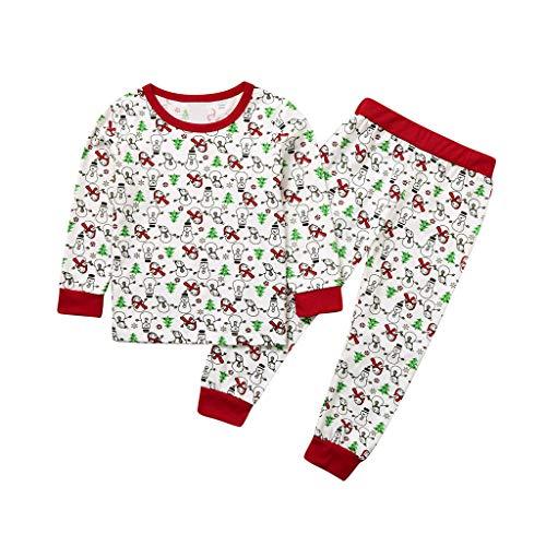 Hui.Hui Ensemble Garçon Fille Noël Vêtements Dessin Animé Imprimé T-Shirt Manche Longue Fille Coton Tops + Pantalon Homewear Sleepwear pour Enfants