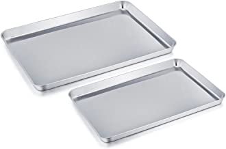 TeamFar Baking Sheet Cookie Sheet Set of 2, Pure Stainless Steel baking Pan Tray Professional, Non Toxic & Healthy, Mirror Finish & Rust Free, Easy Clean & Dishwasher Safe