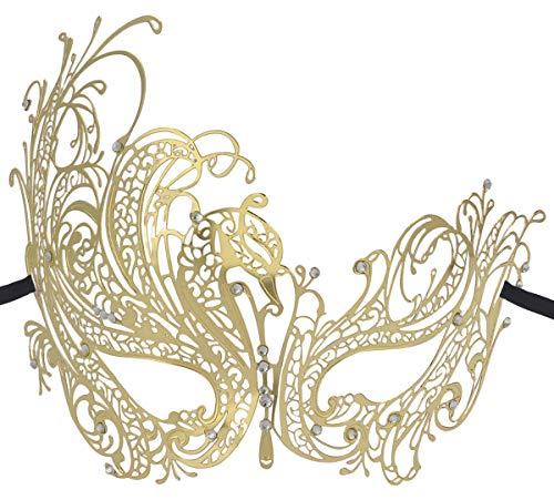 Coxeer Gold Elegant Lady Masquerade Halloween Mardi Gras Party Mask