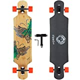 DGWBT 41 inch Longboard Skateboard Freeride- Bamboo Hard Maple Deck,Complete Skateboard Cruiser for Cruising, Carving, Free-Style,Ollie,Dancing and Downhill… (Green Bamboo)