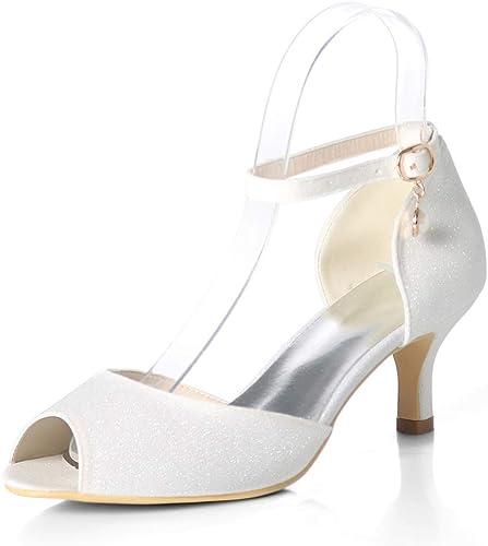 HLG Femmes pompes bas Peep Peep Toe talons hauts chaussures de mariée clignotant pompes partie nuptiale chaussures de Cour  branché