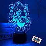 Lion Night Light, King Lion Gift 3D Illusion Lamp for Kids Bedside Lamp with Remote Control 16 Color Changing Xmas Halloween Birthday Gift Cool Room Decor for Child Baby Boy