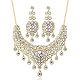 LAN PALACE parure bijoux Femme Mariage Nigerian Necklace and Earrings for Party India Jewelry (Gold)