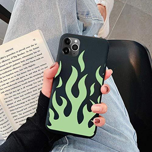 MINILZY para iPhone 11 Pro X XS MAX XR 7 8 6 6S 5s SE 2020 Negro Rojo Fuego Funda de TPU Suave para iPhone 12S MAX XR 7 8 6 6S Plus 5sFashion Art Flame Phone, Khe, lvhuoyan, para iPhone 11 Pro