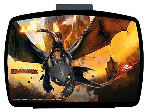 POS 25947 Premium lunchbox met inzetstuk, met DreamWorks Dragons motief, ca. 16 x 12 x 6,5 cm, van kunststof, bpa- en ftalaatvrij, ideaal voor lunchbrood, voor jongens en meisjes.