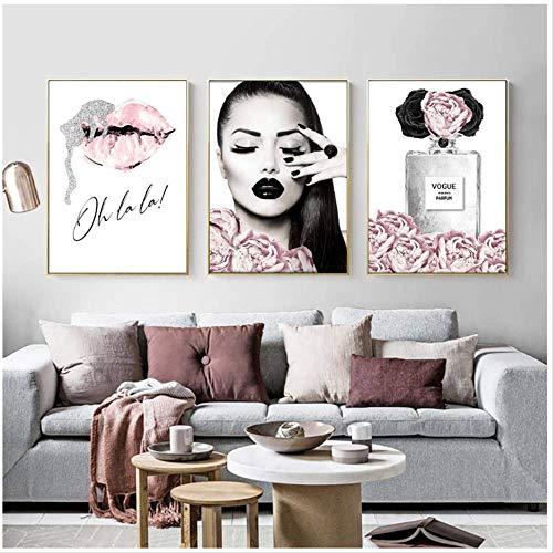 Parfüm Lippen Poster Mode Leinwand Malerei Blumen Wandkunst Druck Make-up Malerei Moderne Frau Wandbilder Wohnzimmer Dekor 50X70cm ohne Rahmen