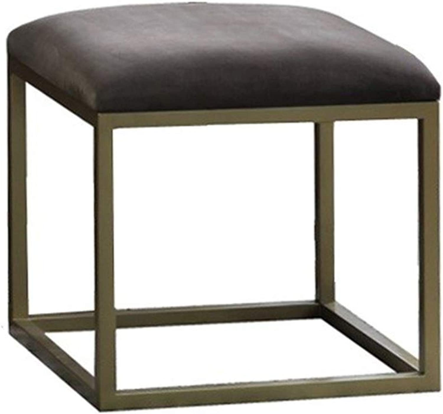 Footstool Simple Metal Multifunction Household Sofa Stool Adult Low Bench Clothing Store Change shoes Bench GMING (color   Brown, Size   32x32x35cm)