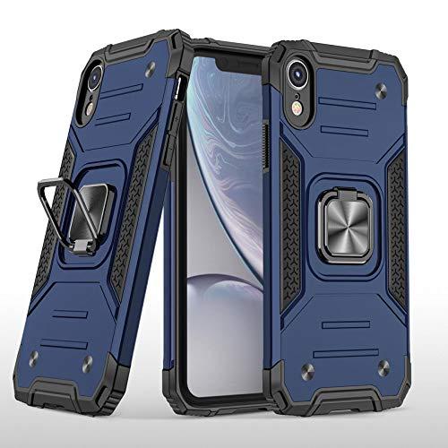 COOVY® Étui pour Apple iPhone XR Coque en PC + Silicone TPU, Cover Case Protection Extra Forte Anneau de Maintien + Fonction Support magnétique   Bleu