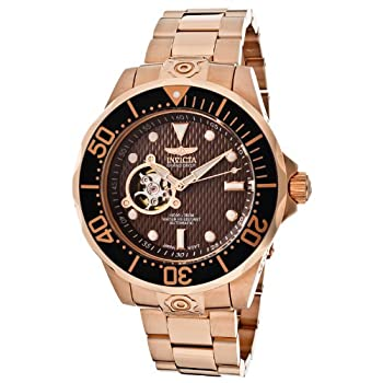 Invicta Men s 13713 Pro Diver Automatic Brown Textured Dial 18k Rose Gold Ion-Plated Watch