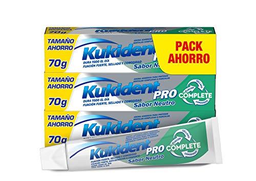 Kukident Pro Complete Crema Adhesiva para prótesis dentales, Neutro, Pack de 3