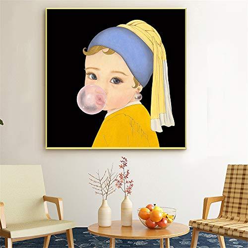 YuanMinglu Divertido Arte de la Pared niños niñas niños Cosplay Lienzo decoración para el hogar Carteles e Impresiones sin Marco 60x60cm