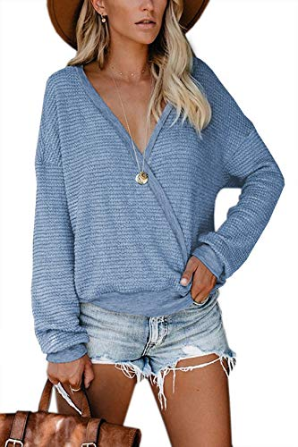 Albe Rita Womens Deep V Neck Wrap Sweaters Long Sleeve Waffle Knit Tops Shirts Pullover, Blue, M