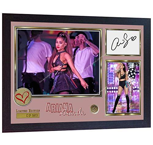 SGH SERVICES Poster, gerahmt, gerahmt, mit Autogramm von Ariana Grande Pop R&B Music signiert, vorgedruckt, gerahmt