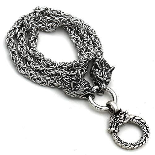 Vikingo De Acero Inoxidable Dragón Odin Maijo Neil Collar Colgante Nórdico Celtic Amuleto Joyería Vintage Hombres Original para Hombre Señoras Cadena Rey,60cm
