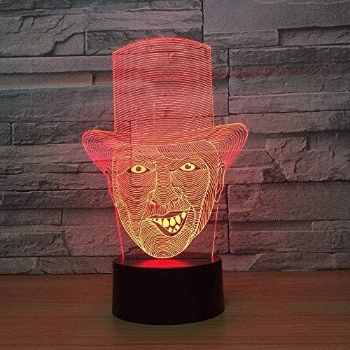 Lámpara de mesa de noche con ilusión 3D, payaso mágico, 7 colores, cambio automático, interruptor táctil, decoración de escritorio, regalo de cumpleaños-7 color touch