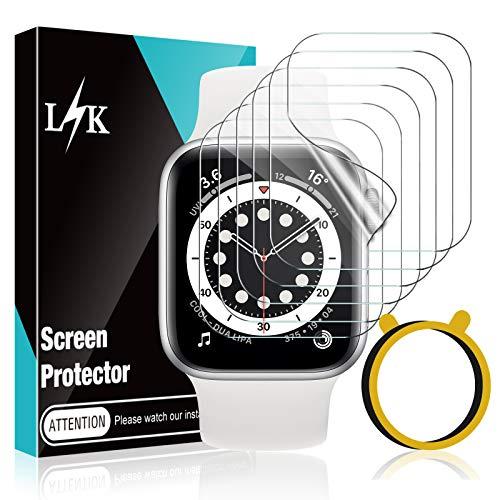 LϟK 6 Pack Protector de Pantalla para Apple Watch 38mm Series 1 2 3 - HD Película de TPU Flexible Sin Burbujas Funda Compatible Sin Bordes Elevados Instalación Fácil - iWatch 38mm Series 3 2 1