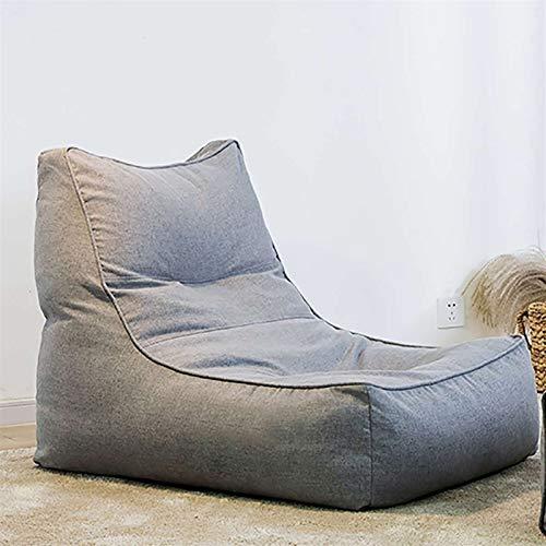 ZIJ Lazy Leinen-Sitzsack / Sofabezug, einfarbig, personalisiertes Design, ohne Polsterung, für Zuhause, Büro, Spielpartys (Farbe: Dunkelgrau)