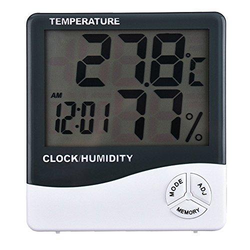 tempo di saldi Termometro Igrometro Orologio Digitale Data con Display LCD 12/24 Ore Allarme
