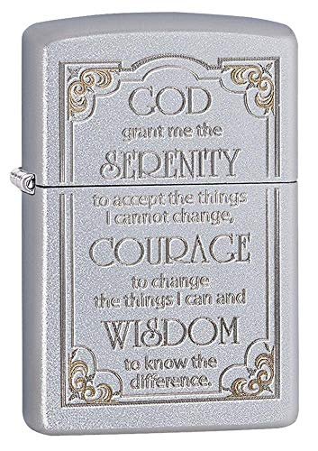 Zippo Serenity Prayer Satin Chrome Pocket Lighter, One Size (28458)
