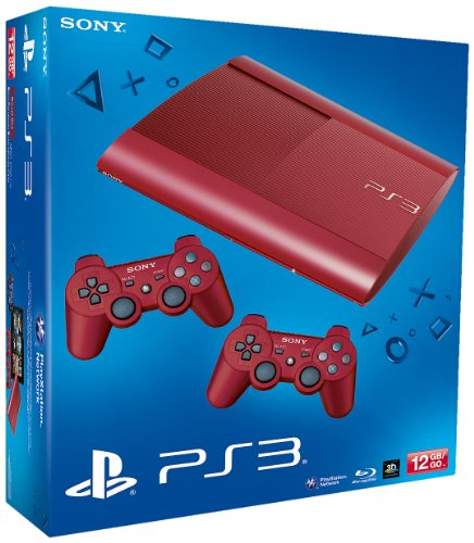 PS3 - Konsole Slim 12GB Garnet Red  (SuperSlim) inkl. 2 Dualshock-Controller Red