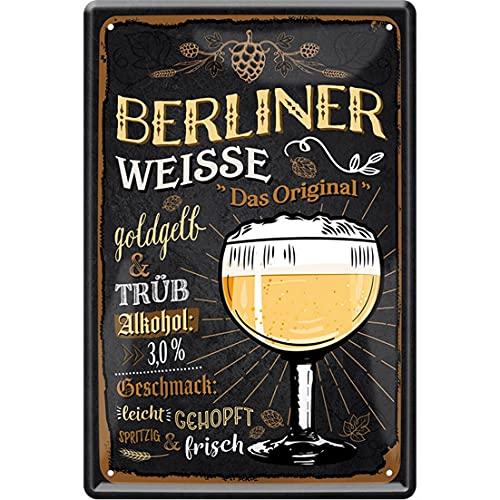 HHS Targhetta decorativa per porta con scritta in lingua tedesca 'Berliner Weissen' (20 x 30 cm, colore giallo oro e tüb 257)