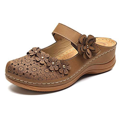 TDYSDYN Zapatillas de casa de Fondo Suave,Zapatillas Planas Retro Grandes, Sandalias de cuña Florales de Punta Redonda-marrón_36,Zapatillas de el hogar cómodas