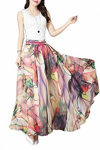 Afibi Women Floral Print Pleated Vintage Chiffon Long Maxi Skirt (Large, S-3)