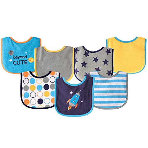Luvable Friends Unisex Baby Cotton Terry Drooler Bibs with PEVA Back, Blue Rocket, One Size