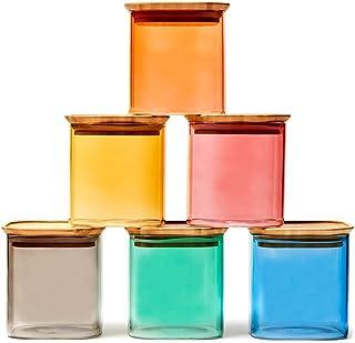 EZOWare Bocaux de Rangement Coloré et Carrés Empilables en Verre Borosilicate avec Couvercle Hermétique, Boîte de Conserva...
