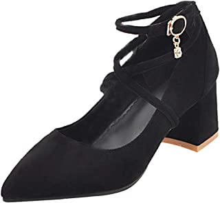 [JYshoes] ポインテッドトゥパンプス 太ヒールアンクルストラップ チャンキーヒール快適 フォーマル結婚式パーティー デート靴
