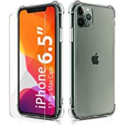 BELONGME Compatible with iPhone 11 Pro Max Case 2019, Crystal Clear Case with 4 Corners Shockproof Protection Soft Scratch-Resistant TPU Cover for iPhone 11 Pro Max 6.5 inch.