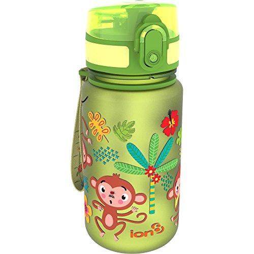 """Ion8, bottiglia per acqua ermetica per bambini con motivo """"Scimmiette"""", a prova di perdite, senza BPA, da 350ml"""