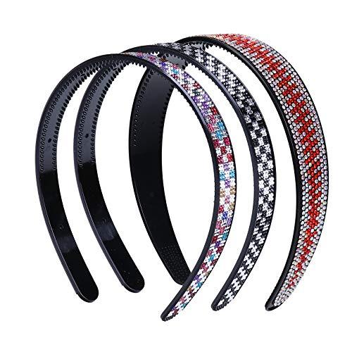 YiyiLai 3 Stück Kristall-Stirnbänder mit Zähnen für Frauen – Stoffhaarband elastisches Kopfband für den Außenbereich