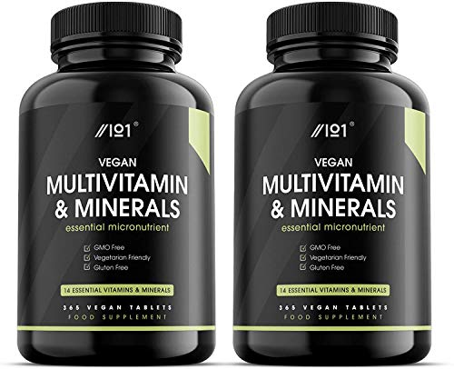 Vegan MultiVitamin & Mineral Tablets - 14 Essential Vitamins & Minerals - 1 Year Supply - 365 Vegan Tablets - No Additives — Non-GMO, Gluten Free. (2 Pack)