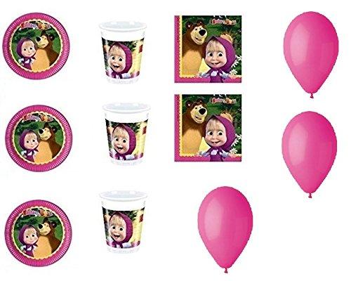 Dolce Casa - Kit n° 13 pour fête thème Masha et Michka (40 assiettes, 40 gobelets, 40 serviettes, 100 ballons)